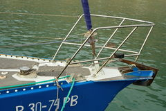 Metal anchor on the bow of the yacht. Crimea Stock Photo