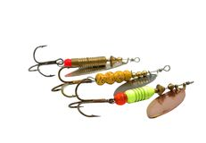 Metal angling baits Royalty Free Stock Image