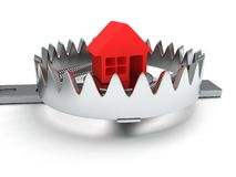 Metal animal trap with home  on white Royalty Free Stock Photos