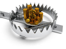Metal animal trap with money  on white. Metal animal trap open with money. Attached to the ground with a metal chain. . 3D render. Mantrap, danger, risk, credit Stock Photography