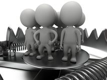 Metal animal trap with people  on white Royalty Free Stock Images