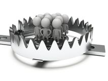 Metal animal trap with people  on white Royalty Free Stock Photography