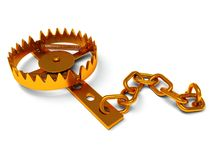 Metal animal trap  on white Royalty Free Stock Photo