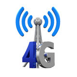 Metal Antenna 4G Network. Isolated on white background. 3D render Stock Illustration