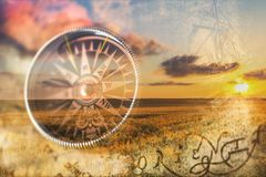 Metal antique compass on background. Metal antique compass background object decorative equipment Royalty Free Stock Images