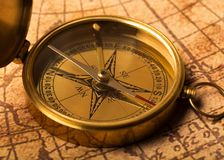 Metal antique compass on background. Metal antique compass background object decorative equipment Royalty Free Stock Photos