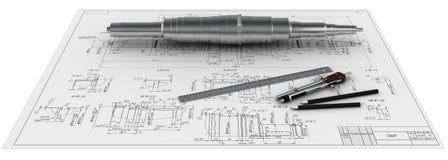 Metal Antriebswelle, Kompassse, Tabellierprogramme und Bleistifte an einem e Lizenzfreie Stockfotografie