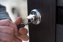 Metal apartment entrance door burglar. Made by special technology. Door metal loop close-up royalty free stock image