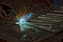 Metal arc welding. Welding of the metal components royalty free stock image