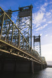 Metal arch truss bridge with liftable sectioned towers Royalty Free Stock Photography