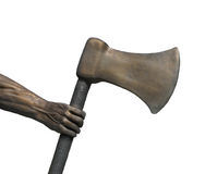 Metal arm and hand holding axe isolated. Royalty Free Stock Photo