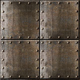 Metal armour background with rivets. Rusty metal armour background with rivets Stock Photos