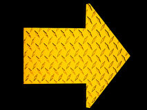 Metal Arrow. Yellow metal skid plate metal arrow royalty free illustration
