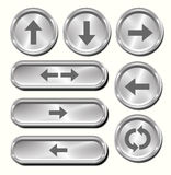 Metal Arrow Buttons. A set of 8 shiny metallic arrow buttons Royalty Free Stock Photography
