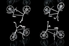 Metal artifact. Bicycle on a black background. set Royalty Free Stock Photography