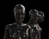 Metal artificial girls on black Stock Photo