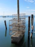 Metal as gaiolas usadas pescando na lagoa de Veneza Fotografia de Stock