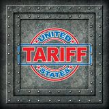Metal Tariff Symbol. Metal as steel and aluminum tariffs in the United states as a stamp on metal background as an economic trade taxation dispute over import Stock Image