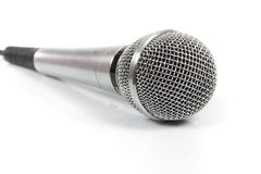 Metal audio microphone isolated Stock Image