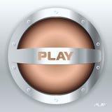Metal audio speaker. Play. Icon Stock Photo