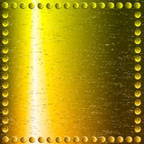 Metal background. Gold metal background with rivets Royalty Free Stock Photo