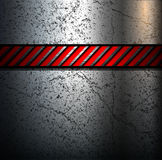 Metal background. With warning stripe Stock Photography
