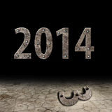 2014 metal background. On black background Royalty Free Stock Photography