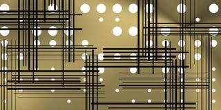 Metal background with circles and black lines. Image with circles and lines over metalic background. Tech space for modern concepts stock illustration