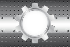 Metal background with cogwheel Stock Photography