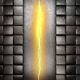Metal background with electric lightning Royalty Free Stock Photo