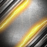Metal background with electric lightning Royalty Free Stock Image