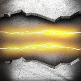 Metal background with electric lightning Stock Photography