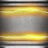 Metal background with electric lightning Stock Photos