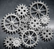Metal background with gears and cogs 3d illustration Stock Photos