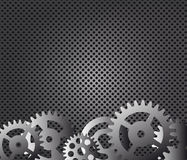 Metal background, gears  illustration Stock Photos