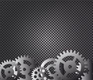 Metal background, gears  illustration Stock Photos