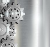 Metal background with gears Stock Photos