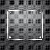 Metal background with glass frame Royalty Free Stock Photo