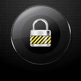 Metal background with glass LOCK button Royalty Free Stock Photo