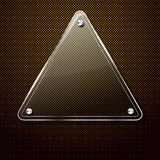 Metal background with glass triangle frame Royalty Free Stock Photos