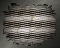 Metal background with grill and torn metal Stock Photos