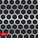 Metal background with hexagonal shapes holes Stock Photo