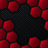 Metal background with hexagons. Black and red geometric background. Stock Photo