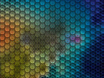 Metal background with hexagons. Rustic and worn metal background with large and small hexagons in vector illustration. Vector abstract backgrounds Stock Images