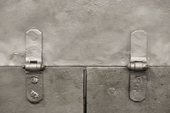 Metal background with hinges. Rough silver colored metal background with hinges Stock Photo