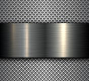 Metal background with metallic banner Stock Image