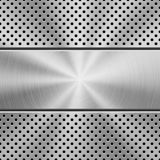Metal Background with Perforated Pattern. Metal texture technology background with grate perforated pattern, circular polished, brushed concentric texture Royalty Free Stock Image