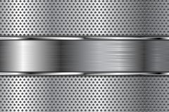 Metal background with perforation and brushed chrome plate. Vector 3d illustration royalty free illustration