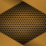 Metal Background with plate and rivets. Perforated metallic grunge texture. Brushed Brass, copper surface template. Metal Background with plate and rivets Royalty Free Stock Photography