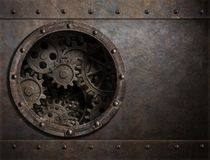 Rusty metal background with porthole and gears inside 3d illustration vector illustration